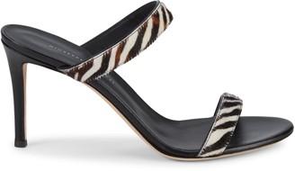 Giuseppe Zanotti 2-Strap Calf Hair Stiletto Sandals