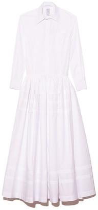 Rosie Assoulin Drop Waist Pleat Stripe Shirtdress in White