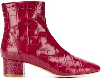Polly Plume croc-effect ankle boots