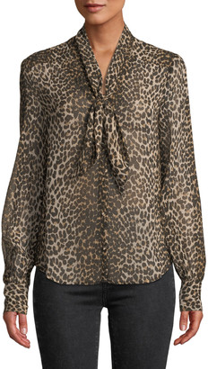 Paige Cleobelle Leopard-Print Tie-Neck Blouse