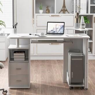 Inbox Zero Computer Desk with Hutch Color: White