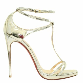 Christian Louboutin Silver Metallic Leather Sandals Size 37.5