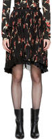 Isabel Marant Black and Red Floral Pleated Watford Minikirt