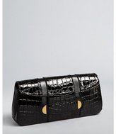 black croc embossed patent leather 'Ruby' clutch