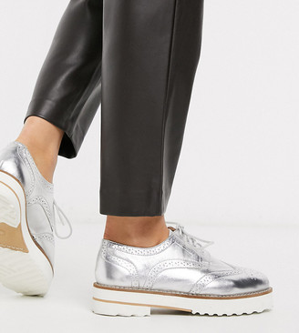 Asos DESIGN Wide Fit Mottle leather flat brogues in silver