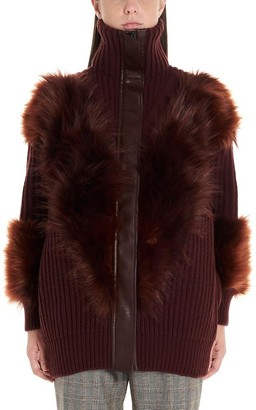 Stella McCartney Fur Trim Zip-Up Cardigan