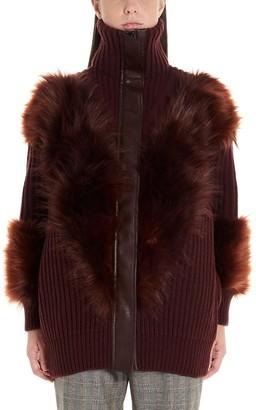 Stella McCartney Fur Trim Zip-Up Cardigan