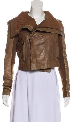 Veda Knit-Accented Leather Jacket