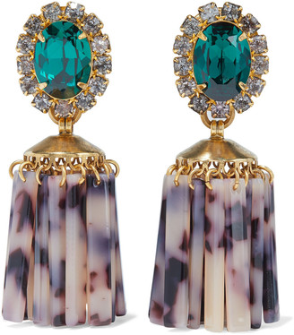 Elizabeth Cole 24-karat Gold-plated, Swarovski Crystal And Acetate Earrings