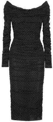 Dolce & Gabbana Off-the-shoulder Ruched Silk-blend Chiffon Midi Dress