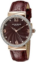 Akribos XXIV Women's AK829RD Quartz Movement Watch with Burgundy Dial Featuring a Crystal Filled Bezel and Leather Strap