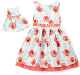 Dollie & Me White & Coral Floral Dress & Doll Dress - Girls