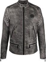 Philipp Plein embossed skull moto jacket