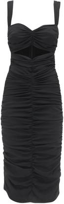 Dolce & Gabbana Ruched Stretch Silk Charmeuse Midi Dress