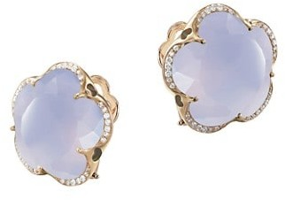 Pasquale Bruni Bon Ton 18K Rose Gold, Light Blue Chalcedony & Diamond Stud Earrings