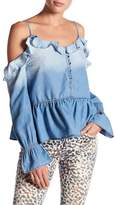 William Rast Wolfe Cold Shoulder Ruffle Top