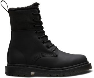 Dr. Martens Kolbert Leather Lace-Up Boots with Faux Fur Lining