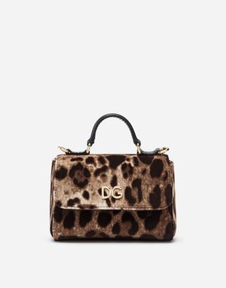 Dolce & Gabbana Leopard-Print Velvet Handbag