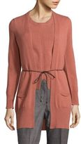 Peserico Virgin Wool, Silk & Cashmere Tie-Waist Cardigan