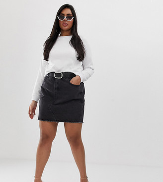 N. Liquor Poker Plus raw hem denim mini skirt-Black