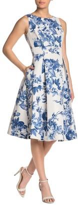Gabby Skye Floral Sleeveless Fit & Flare Dress