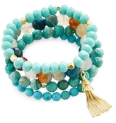 Good Charma Turquoise & Tassel Charm Bracelets (Set of 4)