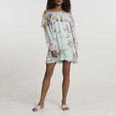 Thumbnail for your product : River Island Womens Blue long sleeve bardot mini smock dress