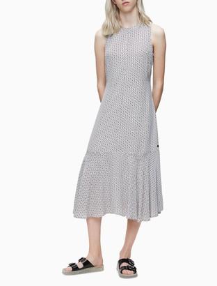 Calvin Klein Monogram Logo Sleeveless A-Line Midi Dress