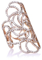 Ileana Makri 18kt Rose Gold Lace Ring With Brown Diamonds