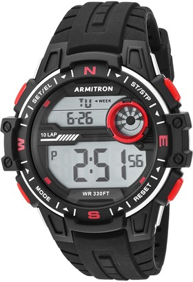 Armitron Sport Men's 40/8440BLK Red Accented Digital Black Silicone Strap Watch