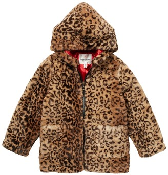 Urban Republic Zip Up Hooded Faux Fur Jacket (Big Girls)