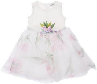 MonnaLisa Tulips Printed Cotton & Tulle Dress
