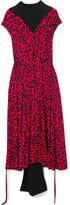 Vetements Paneled Leopard-print Stretch-jersey Midi Dress - Red