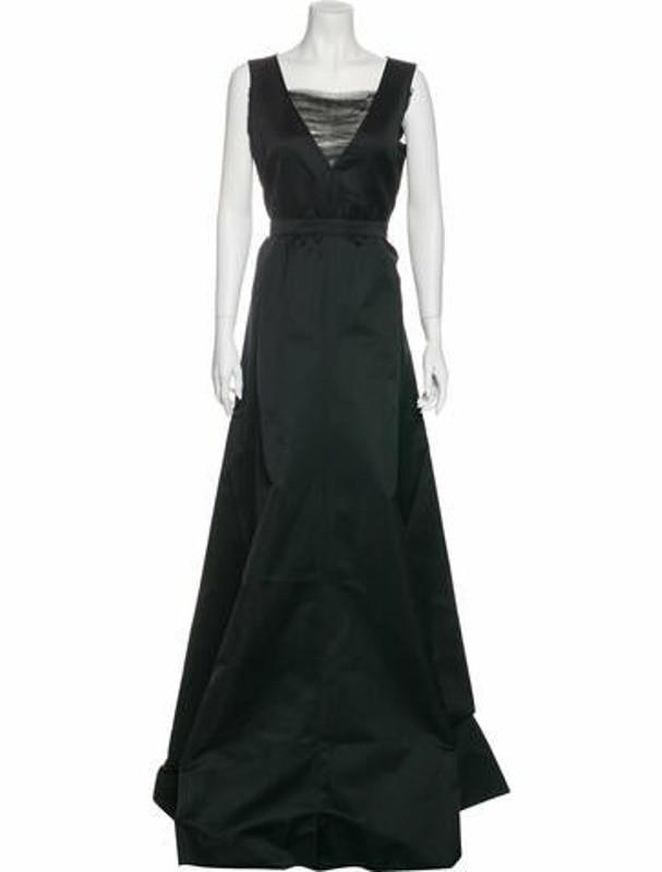 Rochas Square Neckline Long Dress w/ Tags Black