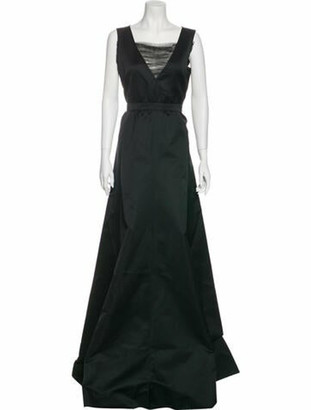 Rochas Square Neckline Long Dress w/ Tags Black