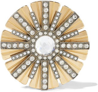 Lanvin Gold And Silver-tone Crystal Clip Earring