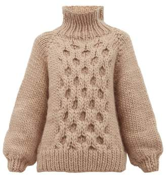 I Love Mr Mittens Honeycomb Knit Wool Sweater - Womens - Beige