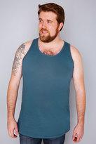 Yours Clothing D555 Petrol Blue Crew Neck Vest