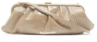 Balenciaga Cloud Xl Crocodile-effect Leather Cross-body Bag - Beige