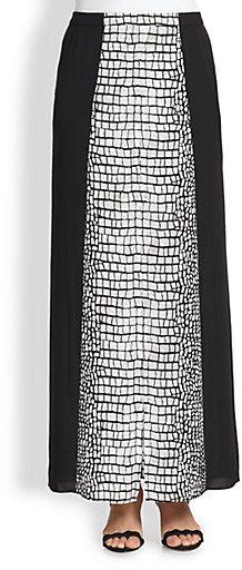 BCBGMAXAZRIA Alligator-Print Split-Front Maxi Skirt