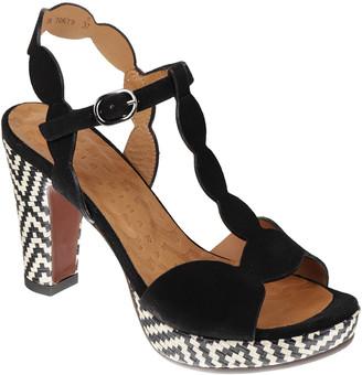 Chie Mihara Elden Checkered T-Strap Platform Sandals