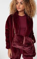 PrettyLittleThing Burgundy Studded Faux Fur Foldover Clutch