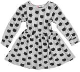 FREE FISHER Girls Long Sleeves Cat Dotted Cotton Princess Dress