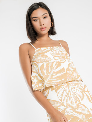 Nude Lucy Marley Linen Cami in Mustard Palm Print