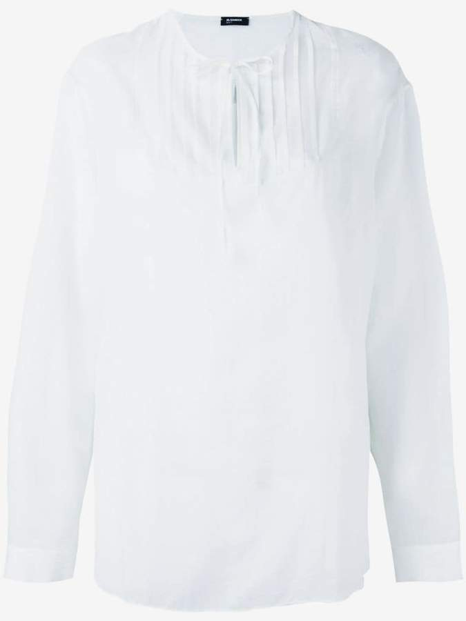 Jil Sander Navy long sleeve tie neck shirt