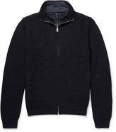 Hackett - Layered Quilted Shell And Wool-blend Zip-up Sweater