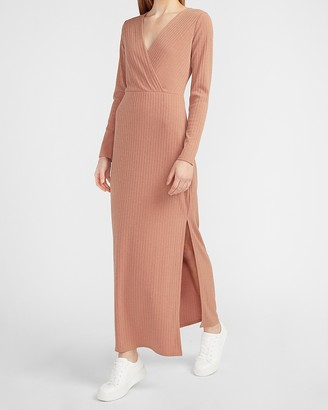 Express Ribbed Wrap Front Long Sleeve Maxi Dress