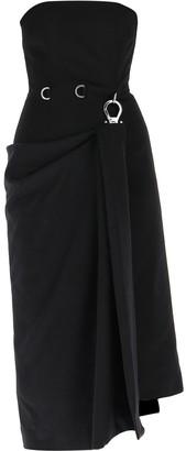 Prada Sleeveless Draped Buckle Midi Dress