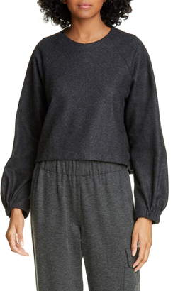 Tibi Blouson Sleeve Crop Top
