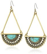Lucky Brand Turquoise and Gold Open Work Drop Earrings